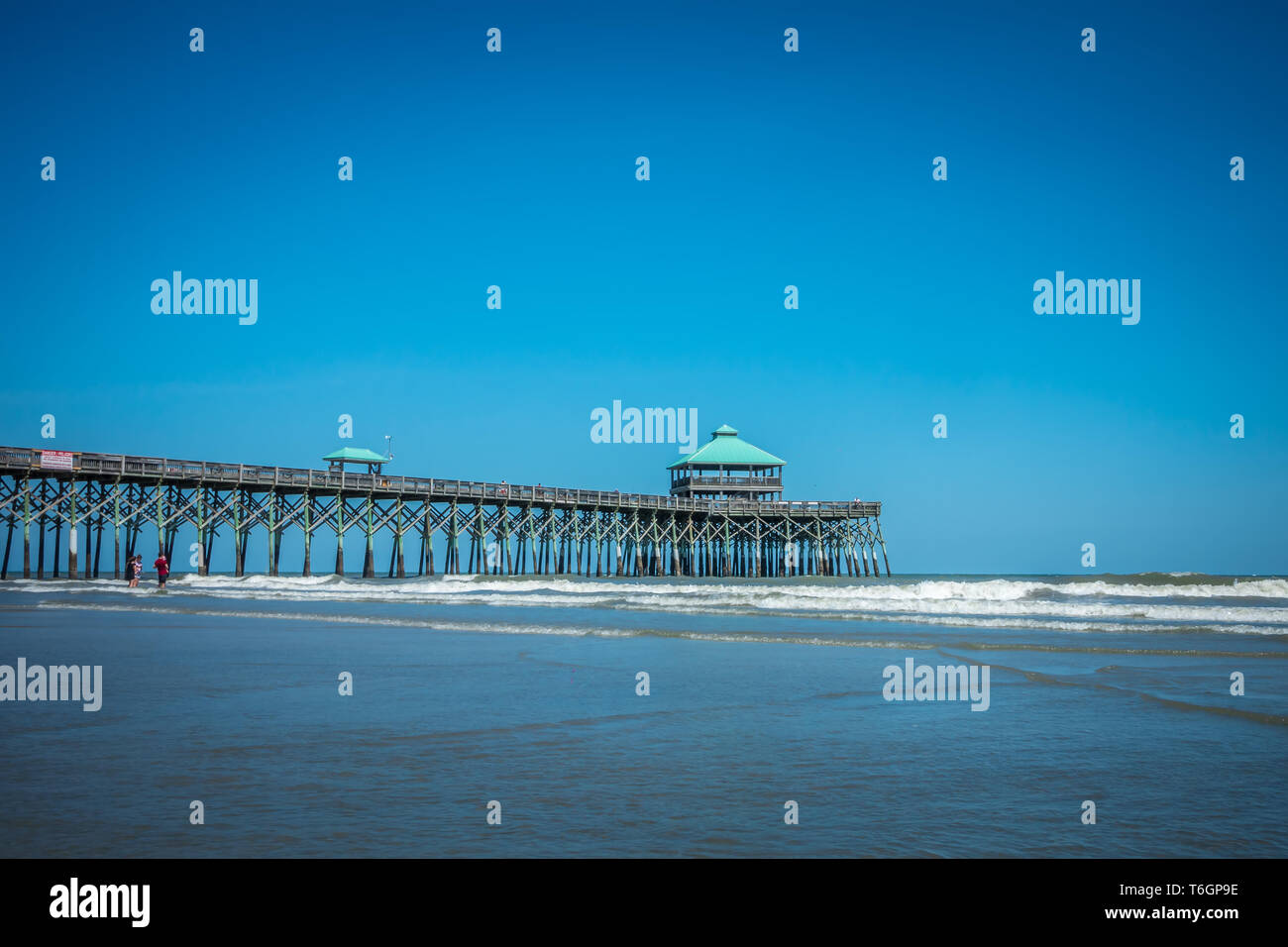 folly beach pier in charleston south carolina Stock Photo: 245001834