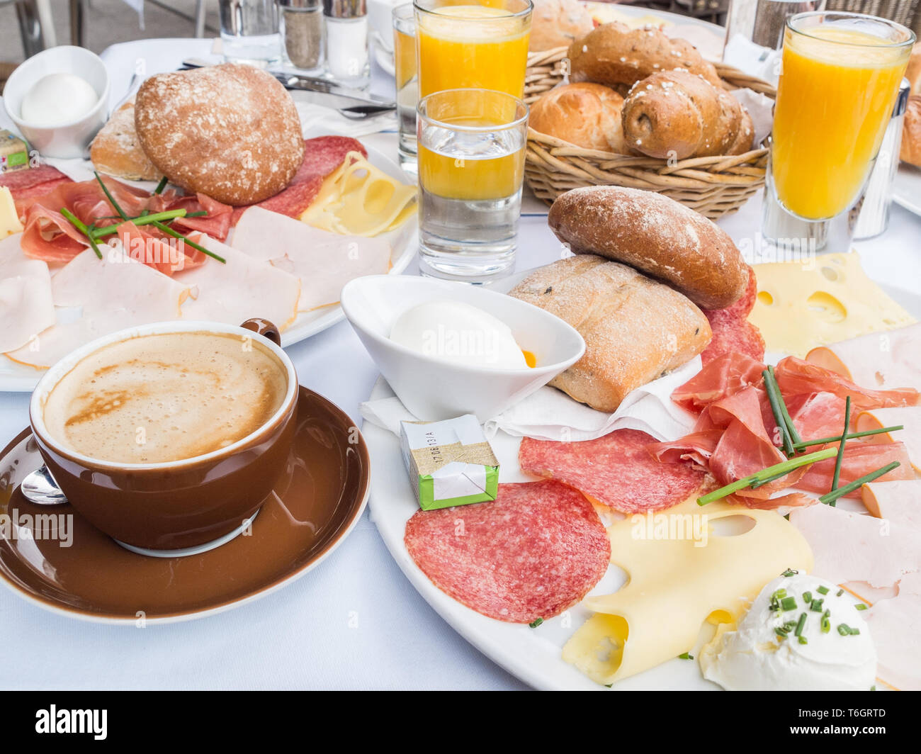Richly covered breakfast table. Stock Photo