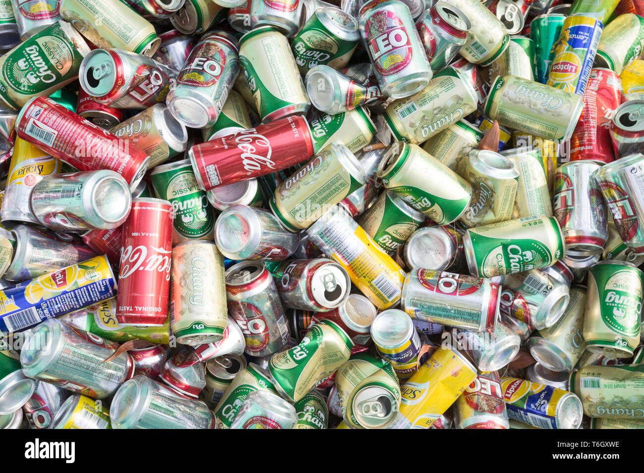 Aluminium cans for recycling - Stock Image
