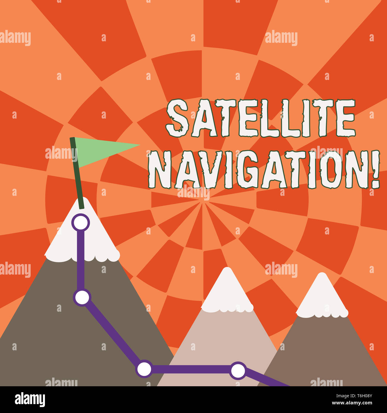 Text sign showing Satellite Navigation. Business photo showcasing system providing autonomous geospatial positioning Three Mountains with Hiking Trail - Stock Image