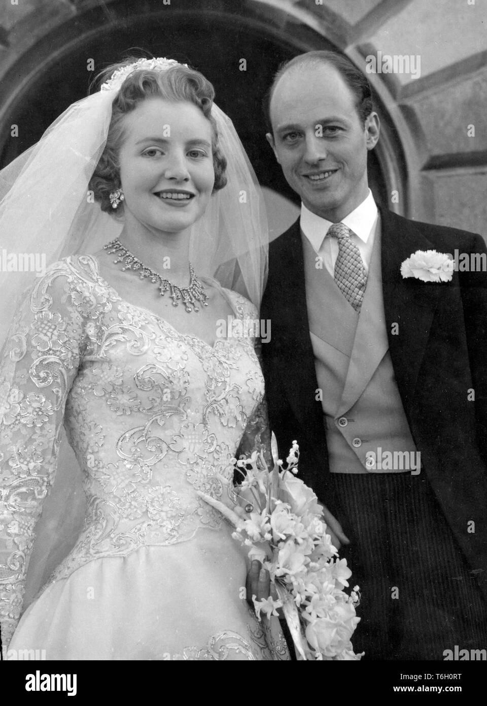 Lady Anne Coke and Colin Tennant on their wedding day as they leave the St. Withiburga's Church, Holkham, Norfolk, after their wedding ceremony.  *NEG CORRUPT, SCANNED ON CONTACT Stock Photo