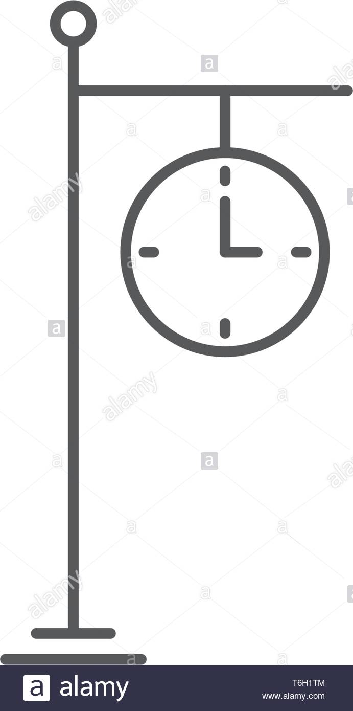 train station clock vector icon concept design isolated on white background - Stock Vector