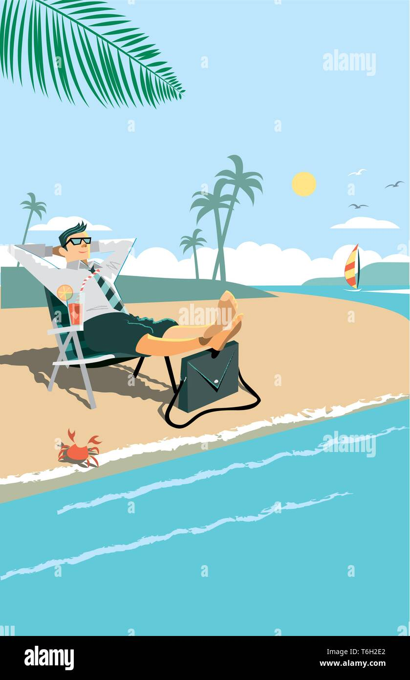 This man has escaped from the office, he needed an urgent rest. Vector Image, Easy Change of Colors - Stock Image