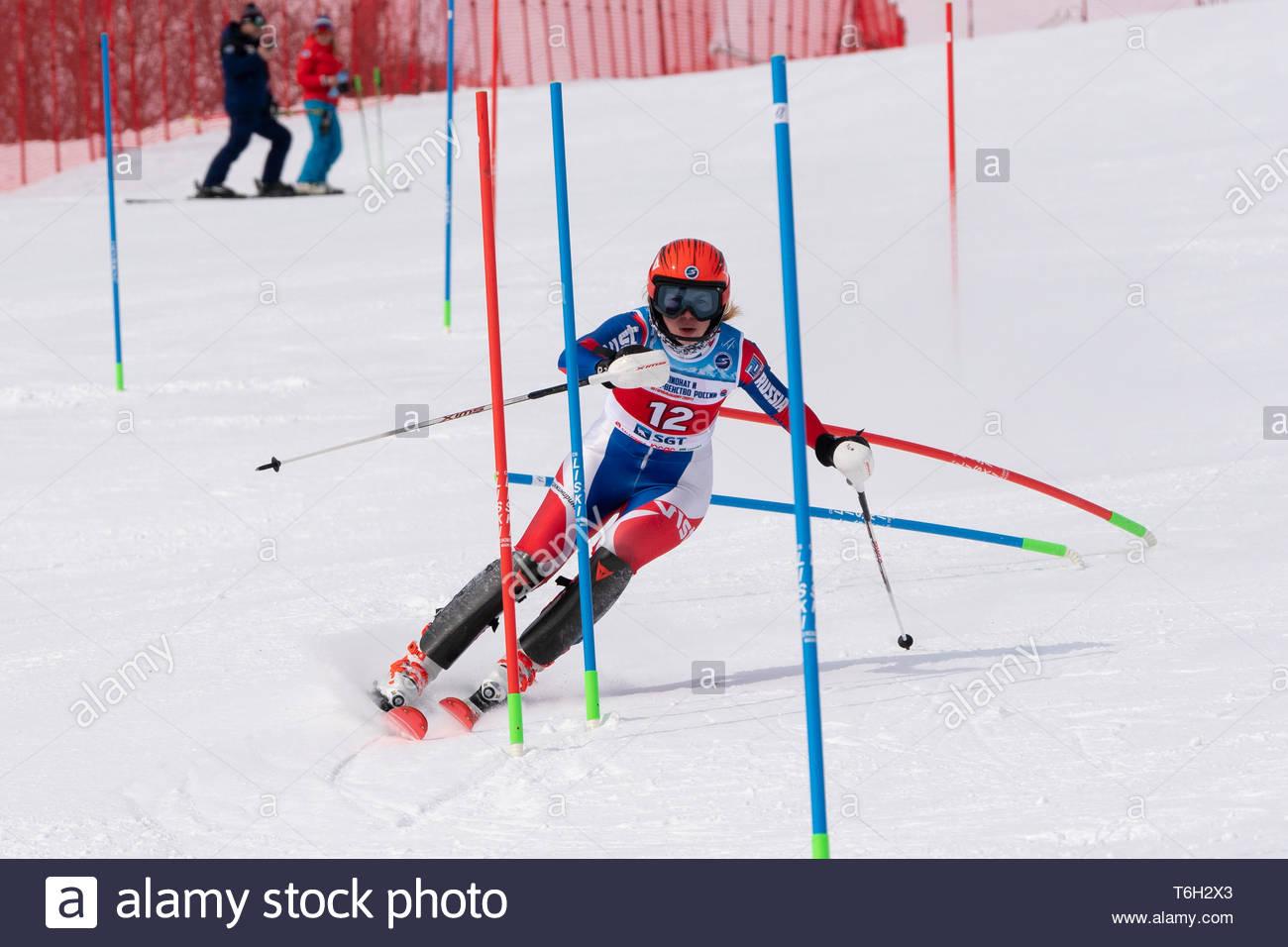 MOROZNAYA MOUNTAIN, KAMCHATKA PENINSULA, RUSSIA - MAR 28, 2019: Russian Alpine Skiing Championship, International Ski Federation Championship, slalom. - Stock Image