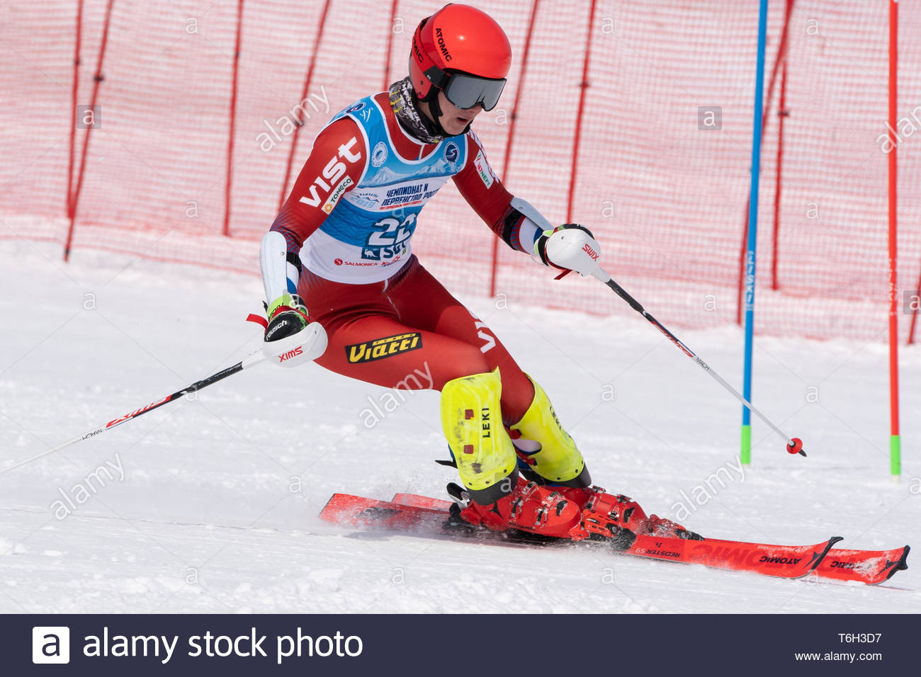 MOROZNAYA MOUNTAIN, KAMCHATKA, RUSSIA - MAR 28, 2019: International Ski Federation Championship, Russian Alpine Skiing Cup, slalom. Mountain skier Vla Stock Photo