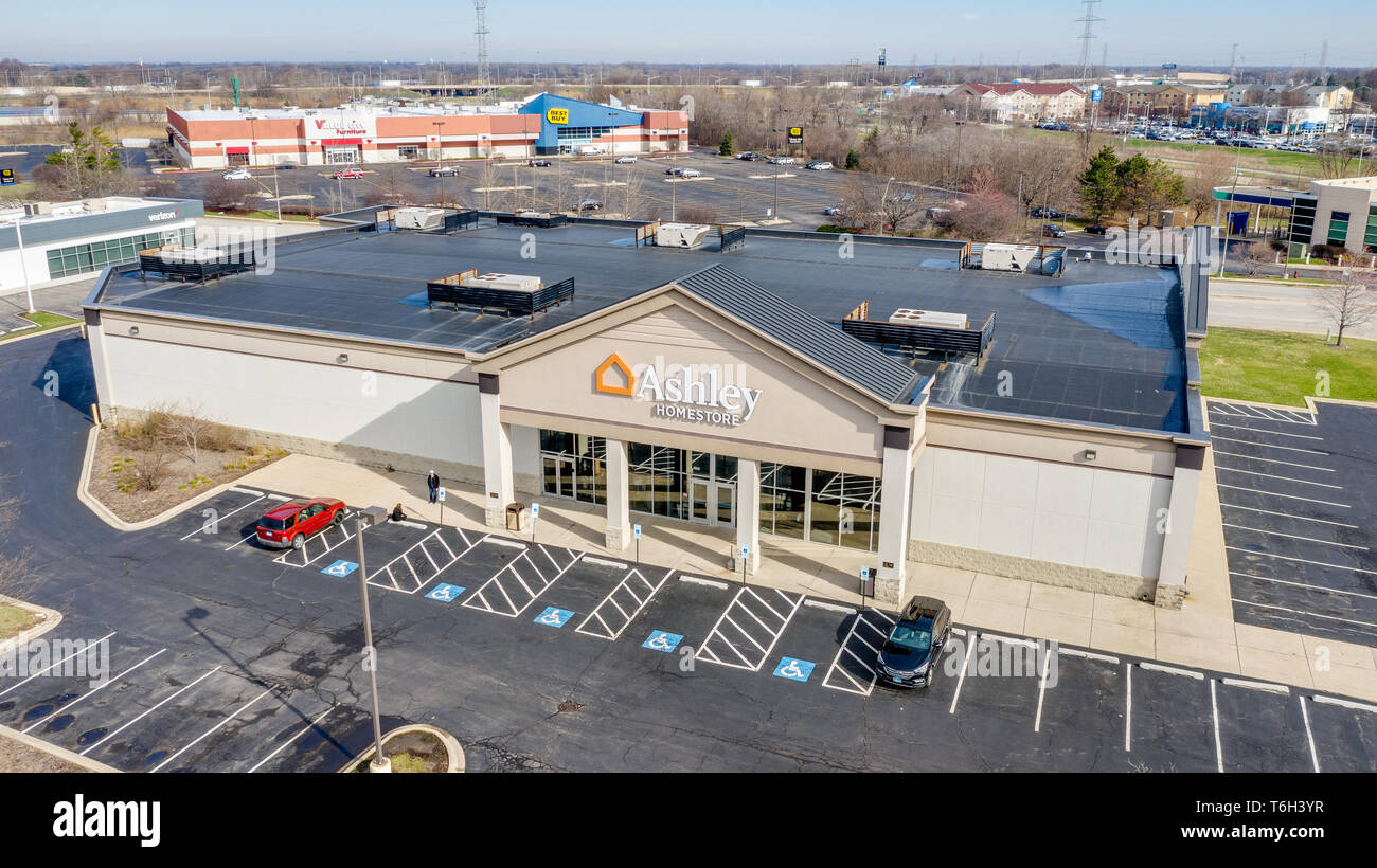 A Drone Aerial View Of An Ashley Furniture Retail Store Ashley