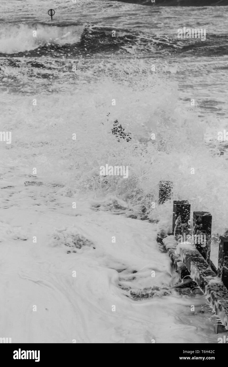 Aberdeen beach during a storm - Stock Image