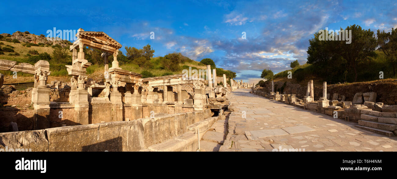 The Fountain of Emperor Trajan and  Curetes Street constructed between 102 - 114 A.D. Ephesus Archaeological Site, Anatolia, Turkey. - Stock Image