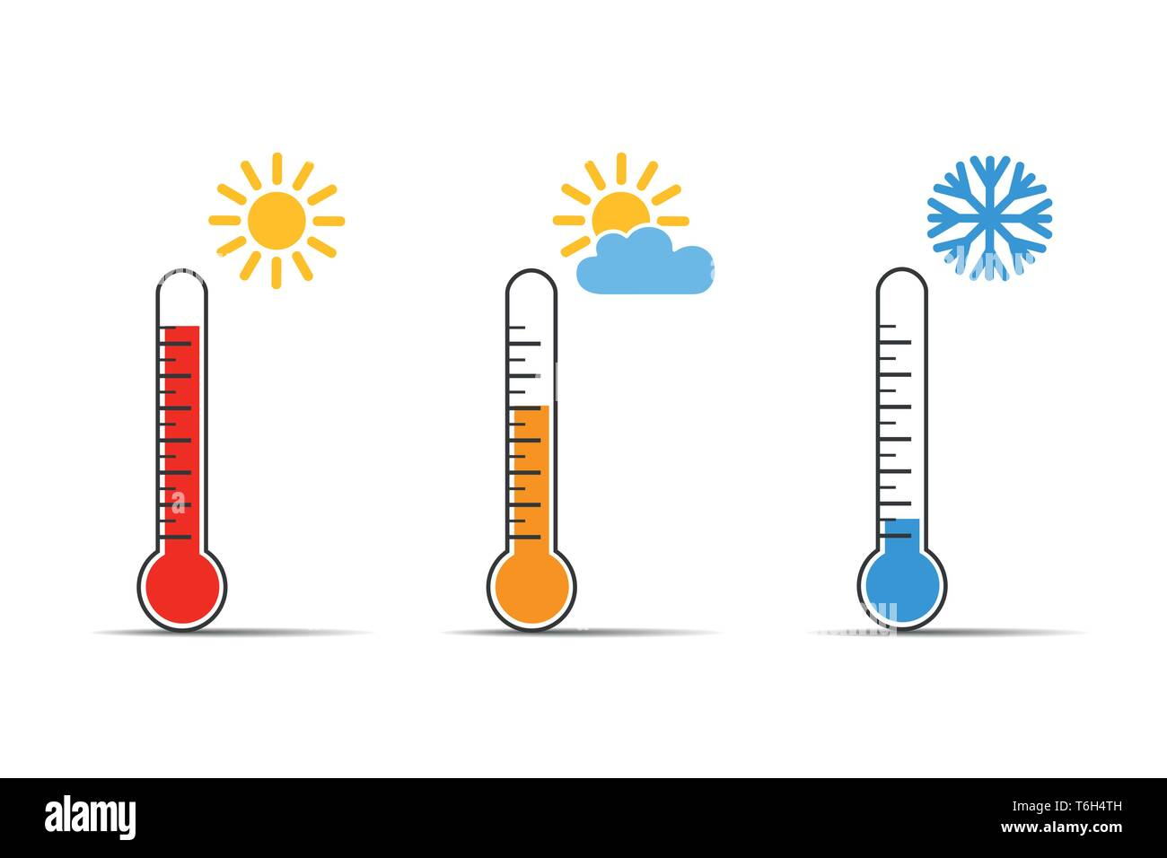 heat thermometer icon symbol hot and cold weather vector illustration EPS10 - Stock Vector