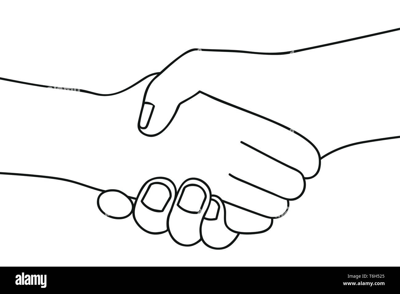 handshake two people shake hands outline drawing on white background vector illustration EPS10 Stock Vector