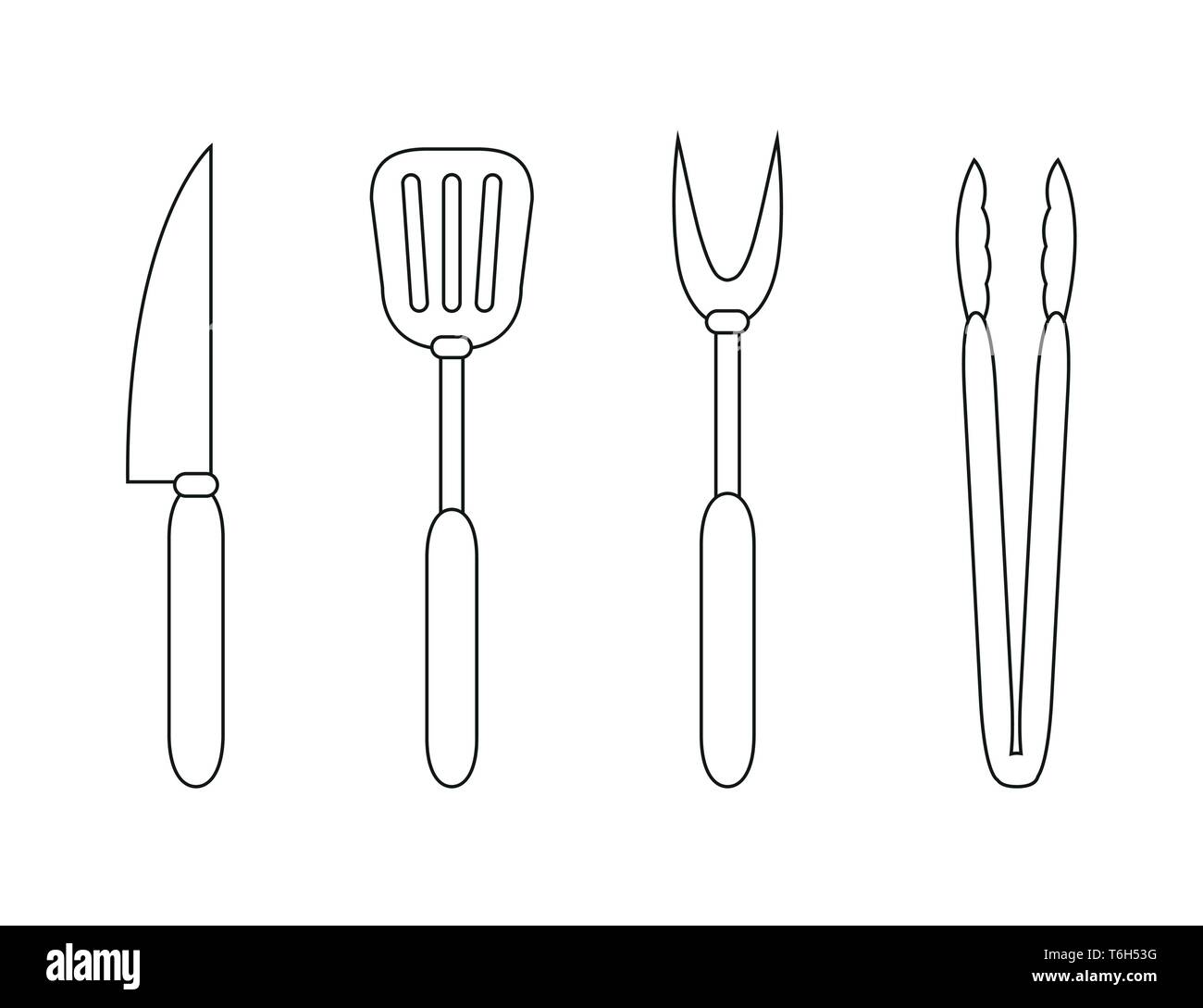 barbecue cutlery outline drawing isolated on white background