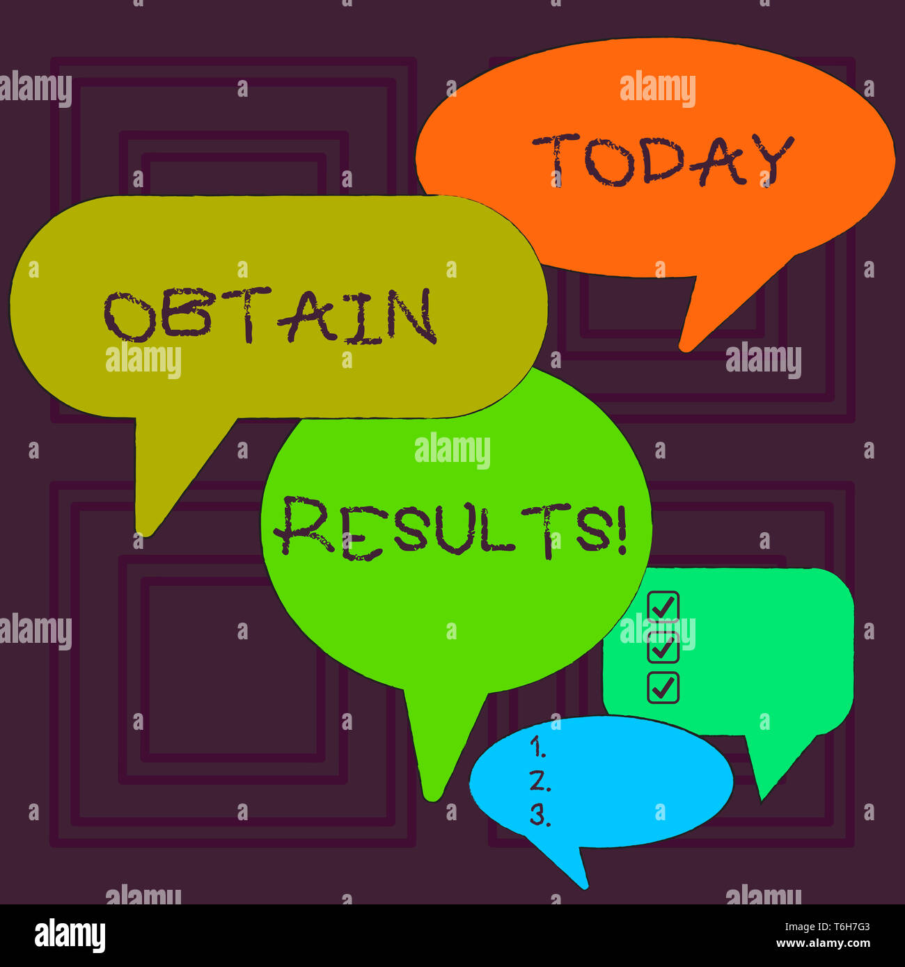 Word writing text Obtain Results. Business photo showcasing To meet the goal or to win a victory in a sports match Many Color Speech Bubble in Differe - Stock Image