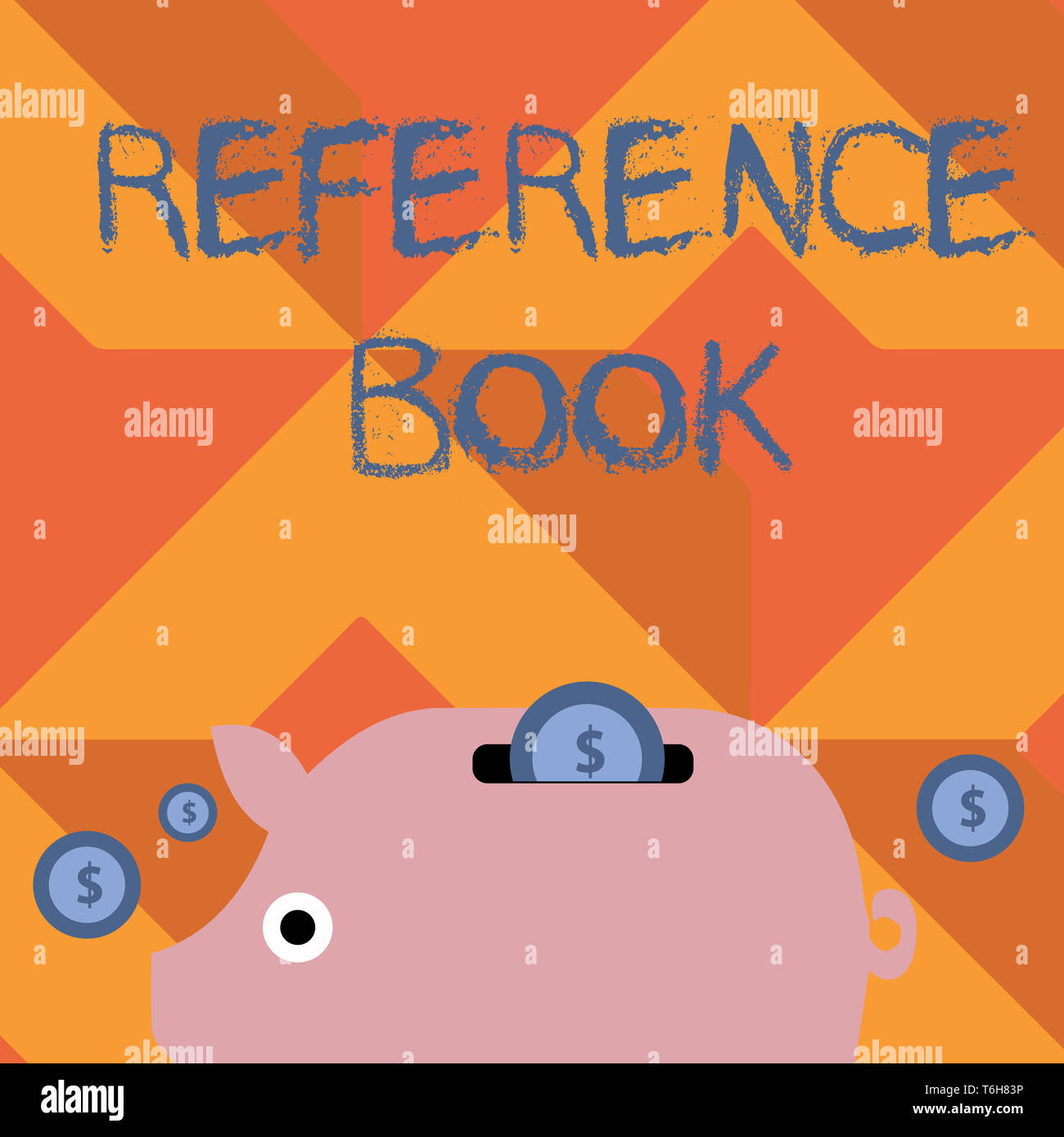Handwriting text writing Reference Book. Conceptual photo book to be consulted for information on specific matters Colorful Piggy Money Bank and Coins - Stock Image