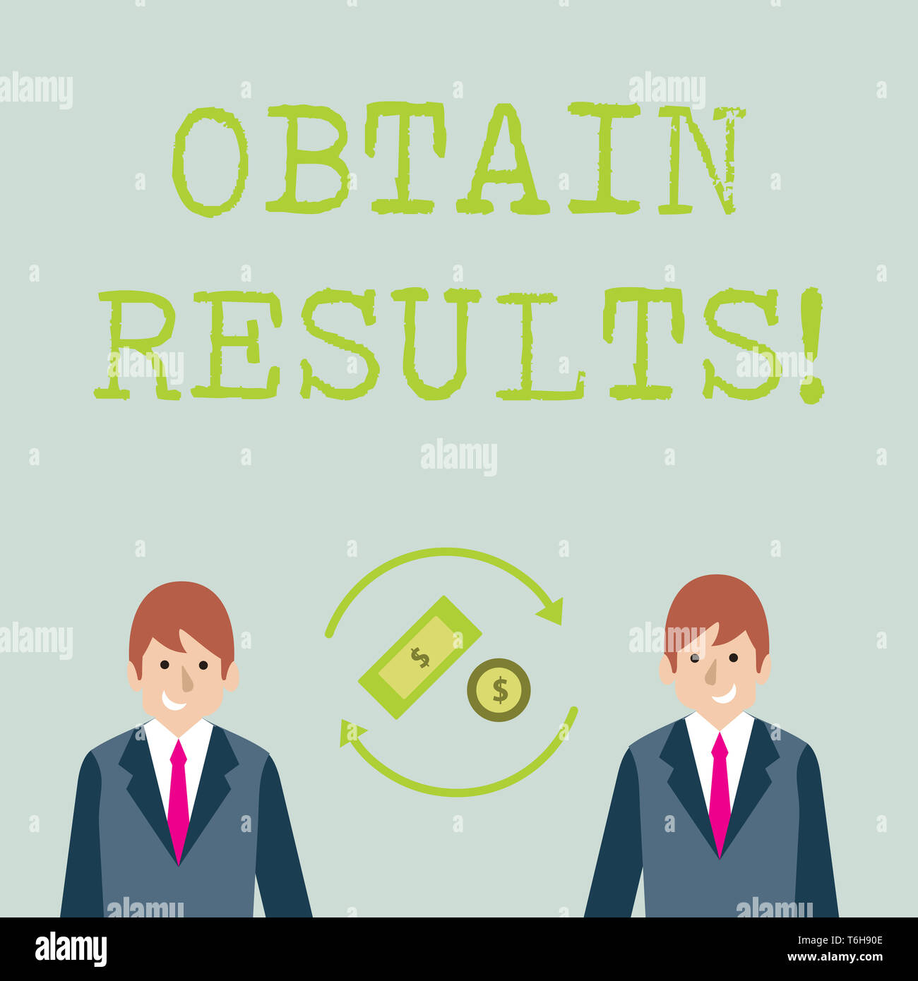 Conceptual hand writing showing Obtain Results. Concept meaning To meet the goal or to win a victory in a sports match Money in Dollar Sign in Rotatin - Stock Image