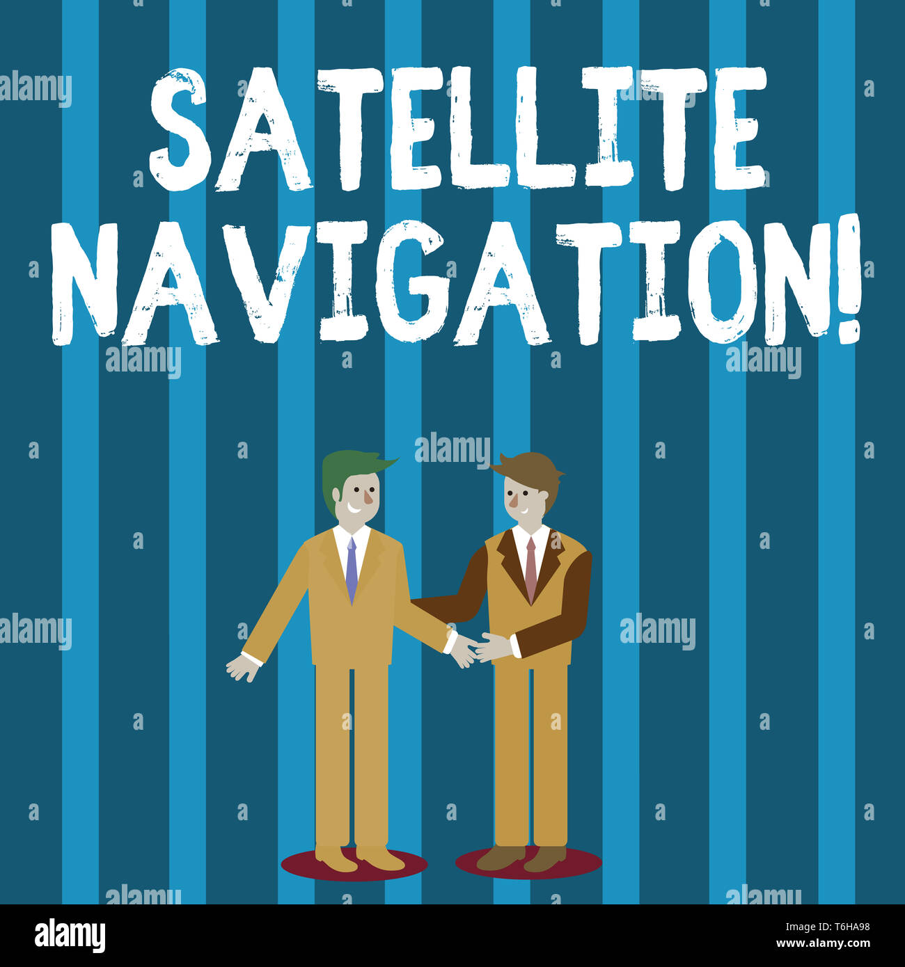 Word writing text Satellite Navigation. Business photo showcasing system providing autonomous geospatial positioning Two Businessmen Standing, Smiling - Stock Image