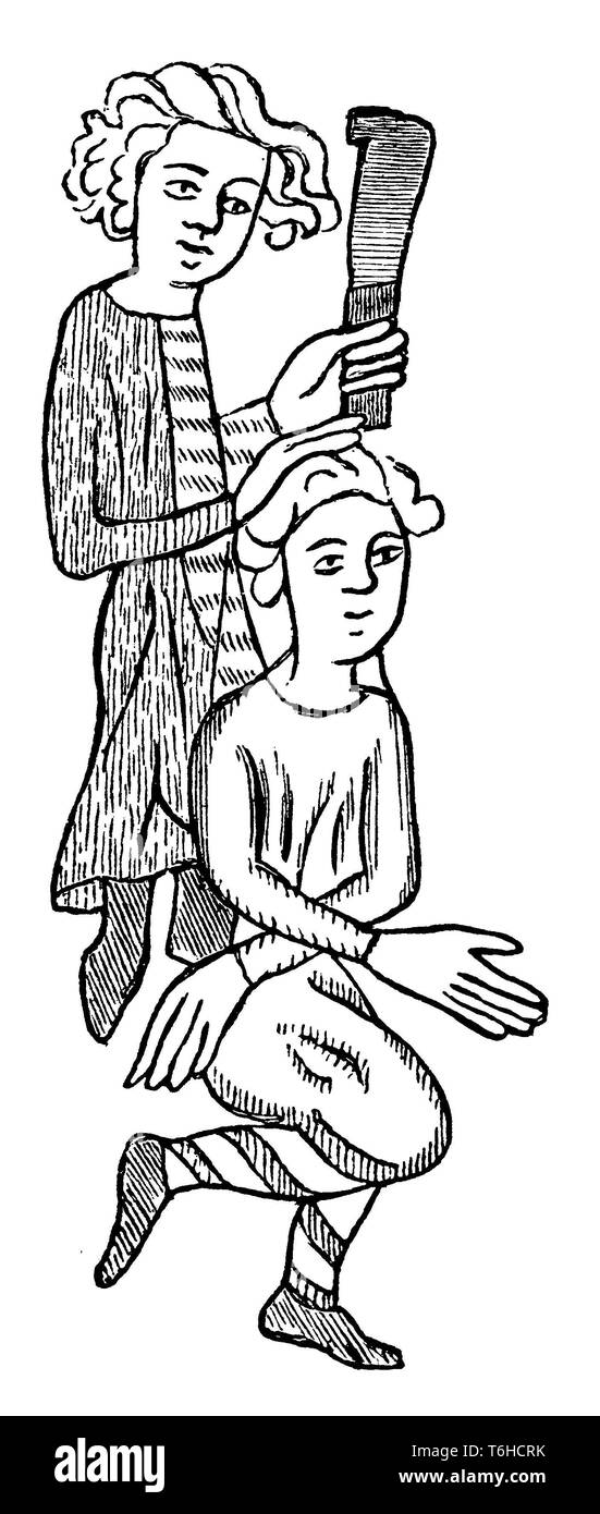 Colonization of the Slavic East by the Teutonic Order: A Saxon colonist with a captive Wend. From the Heidelberg Sachsenspiegel,   1899 - Stock Image