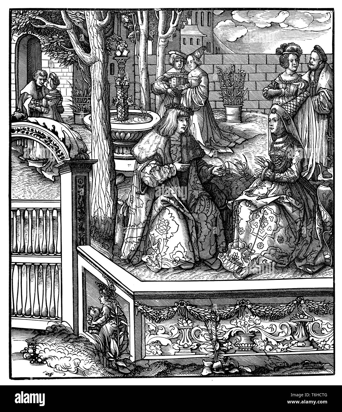 Maximilian I and his young wife Mary of Burgundy. From the woodcuts of the Weißkunig. 'How the young white kunig and the kung kuniging yedes of the other spoke his kuniging.',   1899 - Stock Image