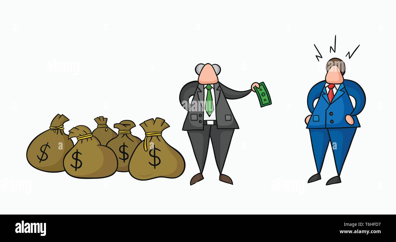 Hand-drawn vector illustration boss has a lot of money with sacks and pays one money to his businessman worker. Colored and black outlines. - Stock Vector