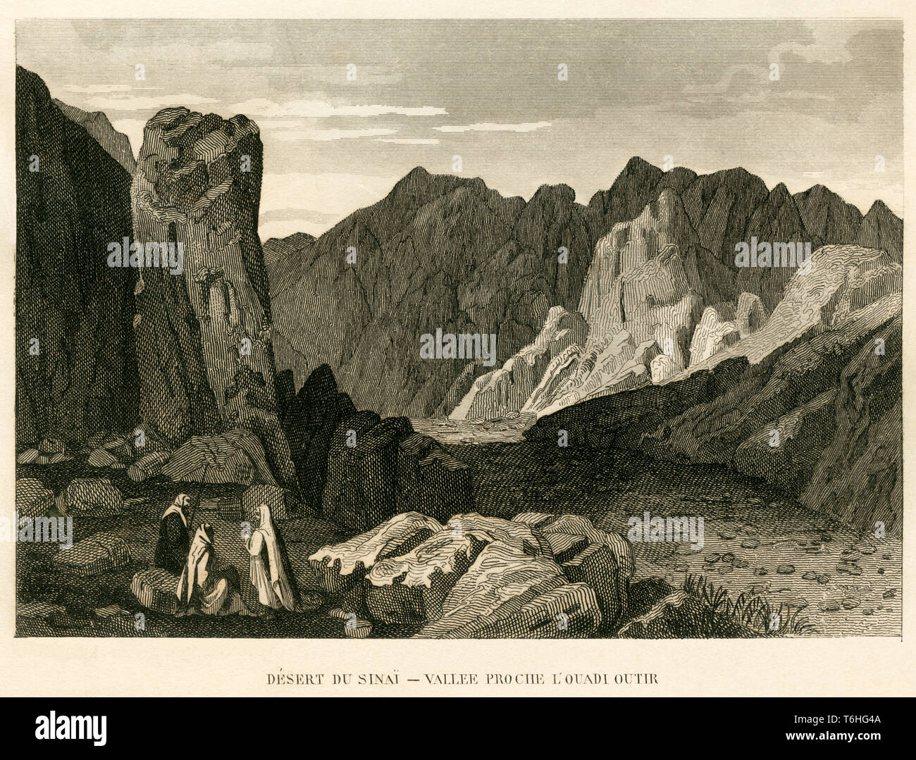 Asien, Ägypten, Sinai Halbinsel, Kupferstich von P. Bellier bei T. Blanchard, 1846  /  Asia, Egypt,Sinai Peninsula, copperplate engraving  by P. Belli Stock Photo