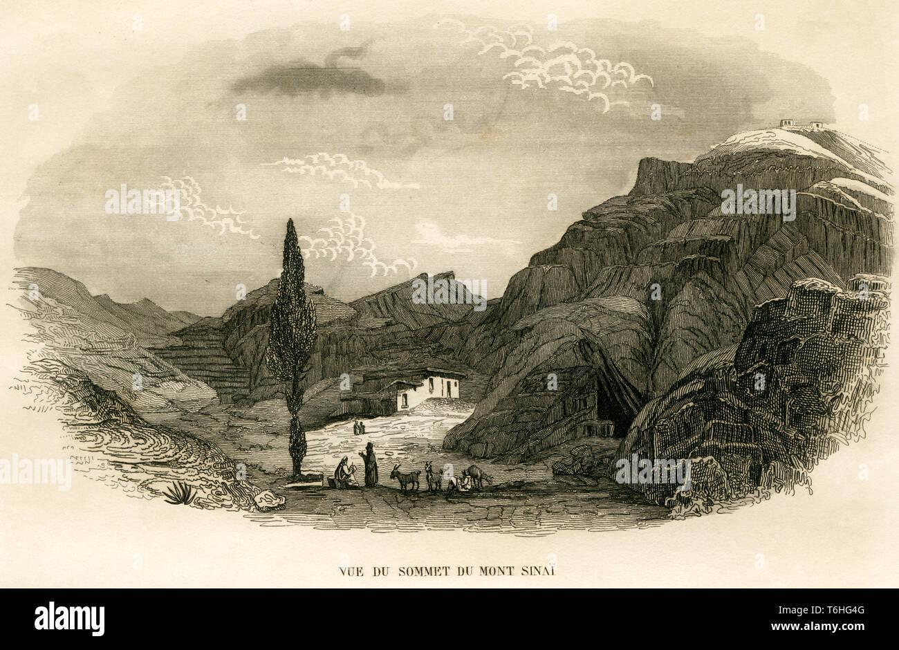 Asien, Ägypten, Sinai Halbinsel, Berg Sinai, Sinai, Kupferstich von Adam nach Monvoisin bei T. Blanchard, 1846 . /  Asia, Egypt, Sinai Peninsula, Moun Stock Photo
