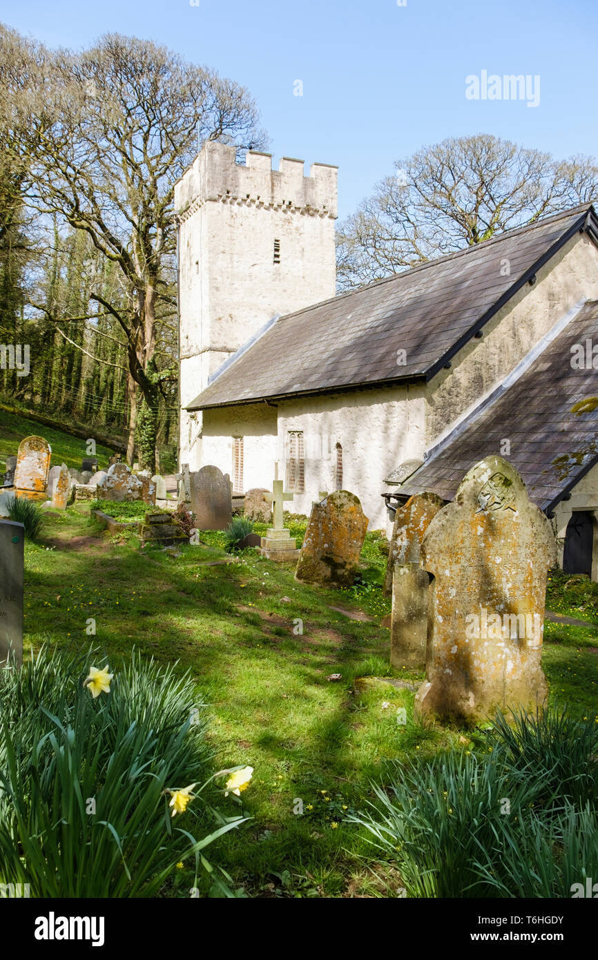 Small 14th century Norman church of St Illtyd with battlemented tower in spring on Gower Peninsula, Oxwich, West Glamorgan, South Wales, UK, Britain Stock Photo