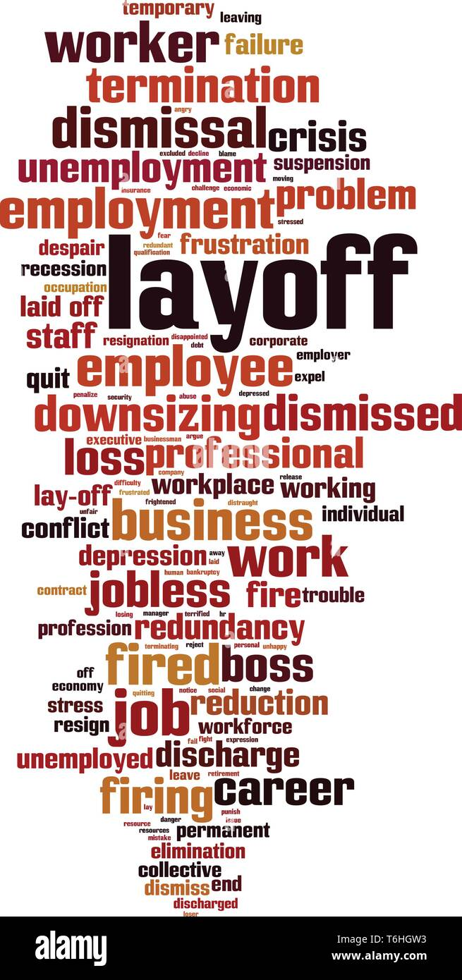 Layoff word cloud concept. Collage made of words about layoff. Vector illustration - Stock Vector
