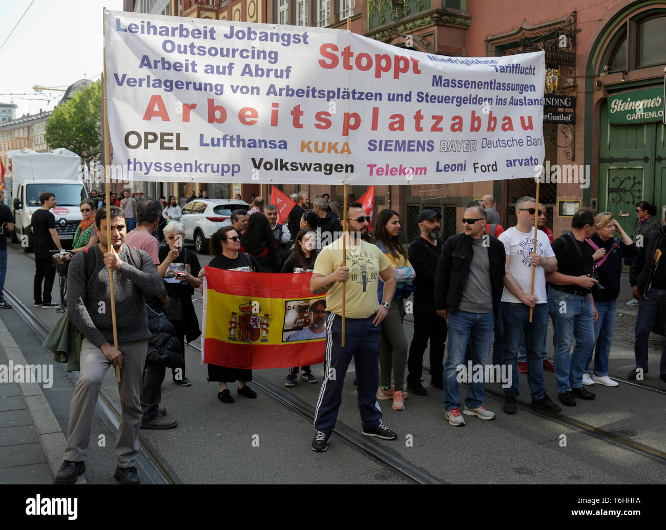 Frankfurt, Germany  01st May, 2019  Protesters carry a
