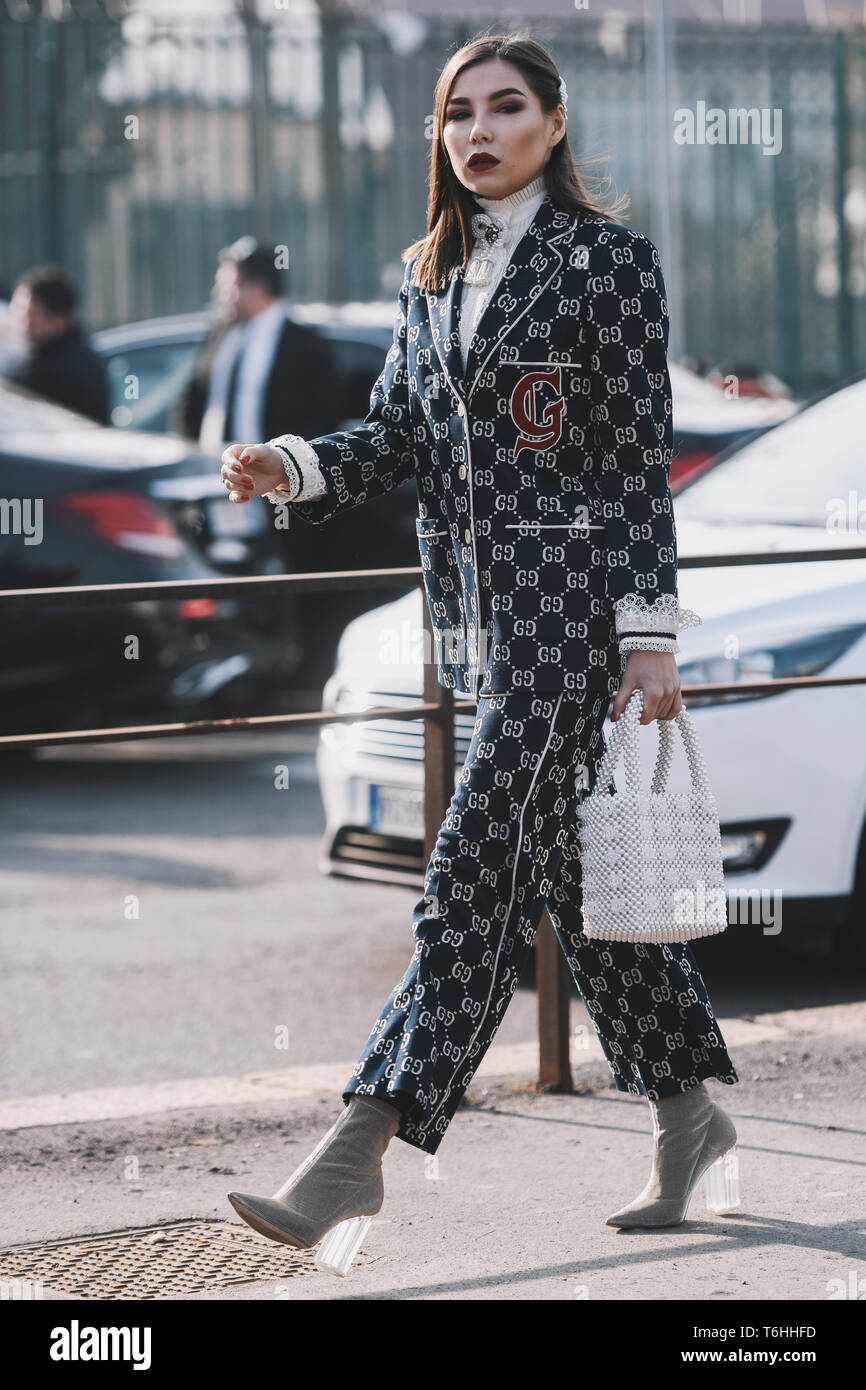 Milan Italy February 20 2019 Street Style Outfits Girl In A Gucci Outfit Before A Fashion Show During Milan Fashion Week Mfwfw19 Stock Photo Alamy