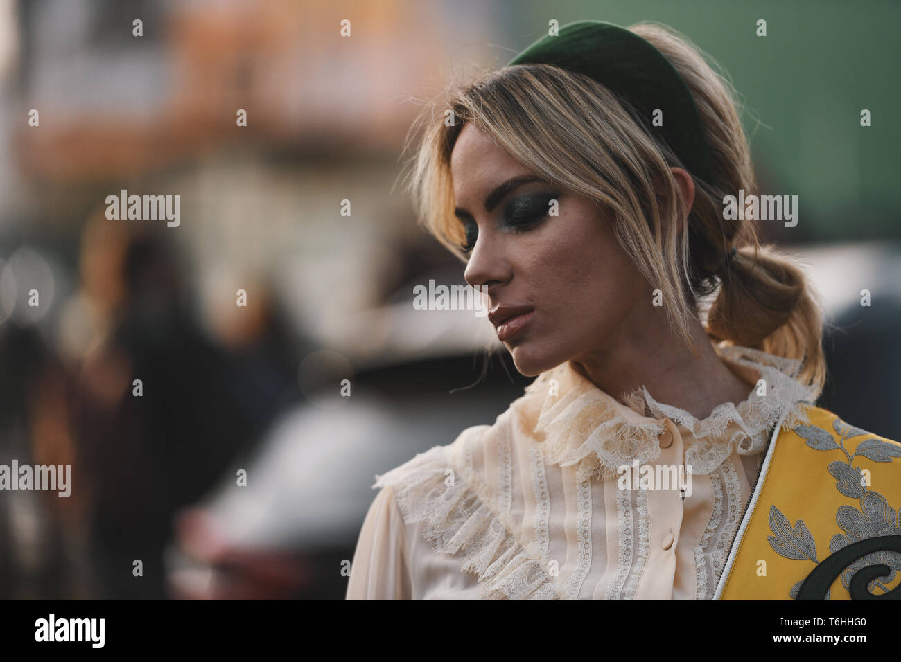 df96bc0b4 Milan, Italy - February 20, 2019: Street style outfits - models, bloggers