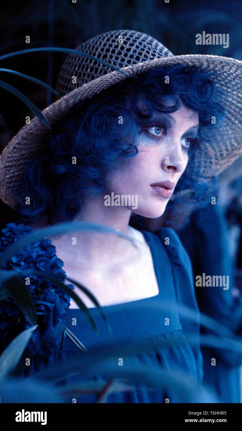 Woman modelling Biba attire in Biba boutique in Kensington Church Street. - Stock Image