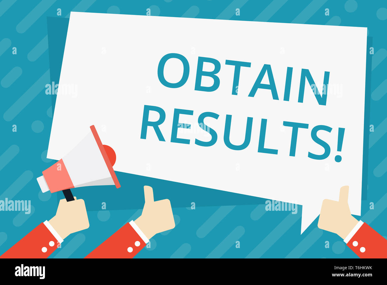 Text sign showing Obtain Results. Business photo showcasing To meet the goal or to win a victory in a sports match Hand Holding Megaphone and Other Tw - Stock Image