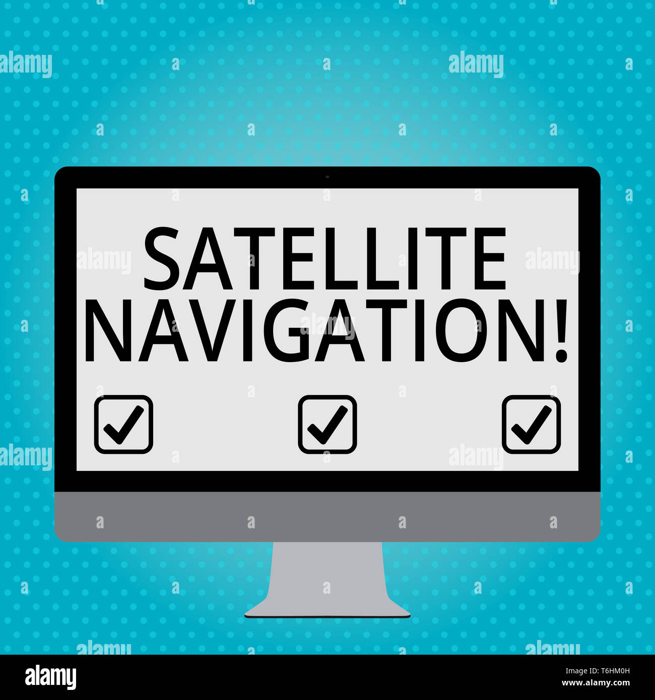 Handwriting text Satellite Navigation. Conceptual photo system providing autonomous geospatial positioning Blank White Computer Monitor WideScreen Mou - Stock Image