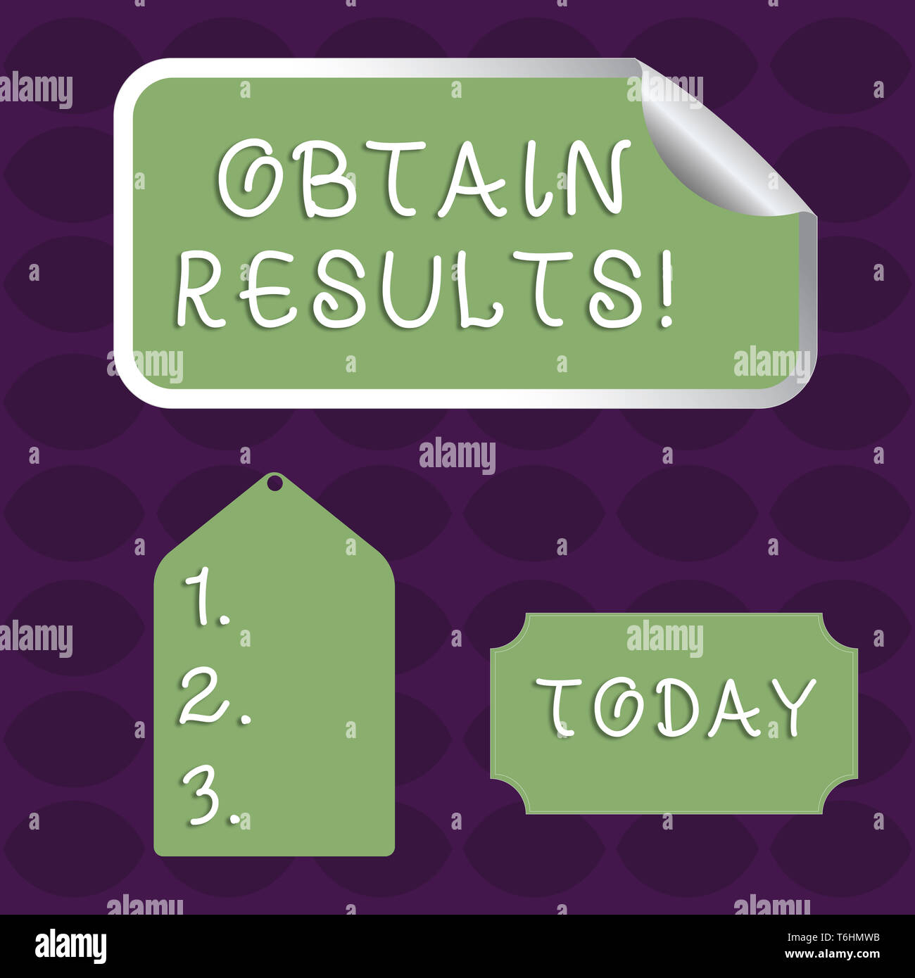 Handwriting text Obtain Results. Conceptual photo To meet the goal or to win a victory in a sports match Blank Color Label, Self Adhesive Sticker with - Stock Image