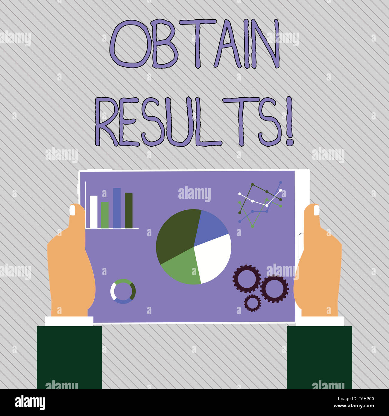 Text sign showing Obtain Results. Business photo text To meet the goal or to win a victory in a sports match Hands Holding Tablet with Search Engine O - Stock Image