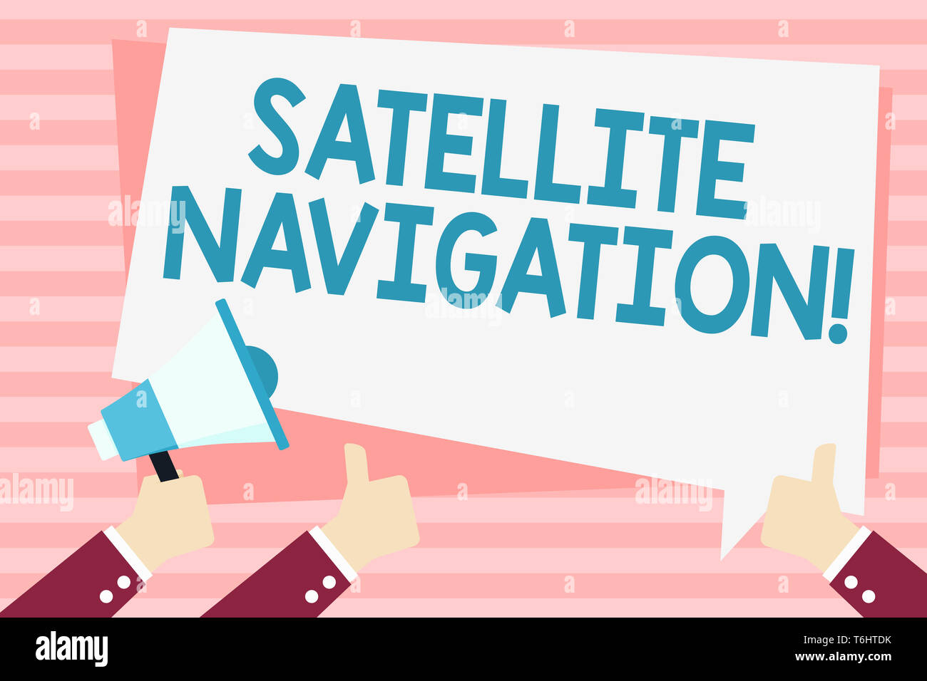 Handwriting text Satellite Navigation. Conceptual photo system providing autonomous geospatial positioning Hand Holding Megaphone and Other Two Gestur - Stock Image