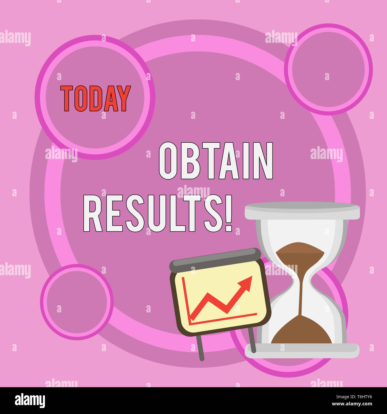 Writing note showing Obtain Results. Business concept for To meet the goal or to win a victory in a sports match Growth Chart with Arrow Going Up and  - Stock Image