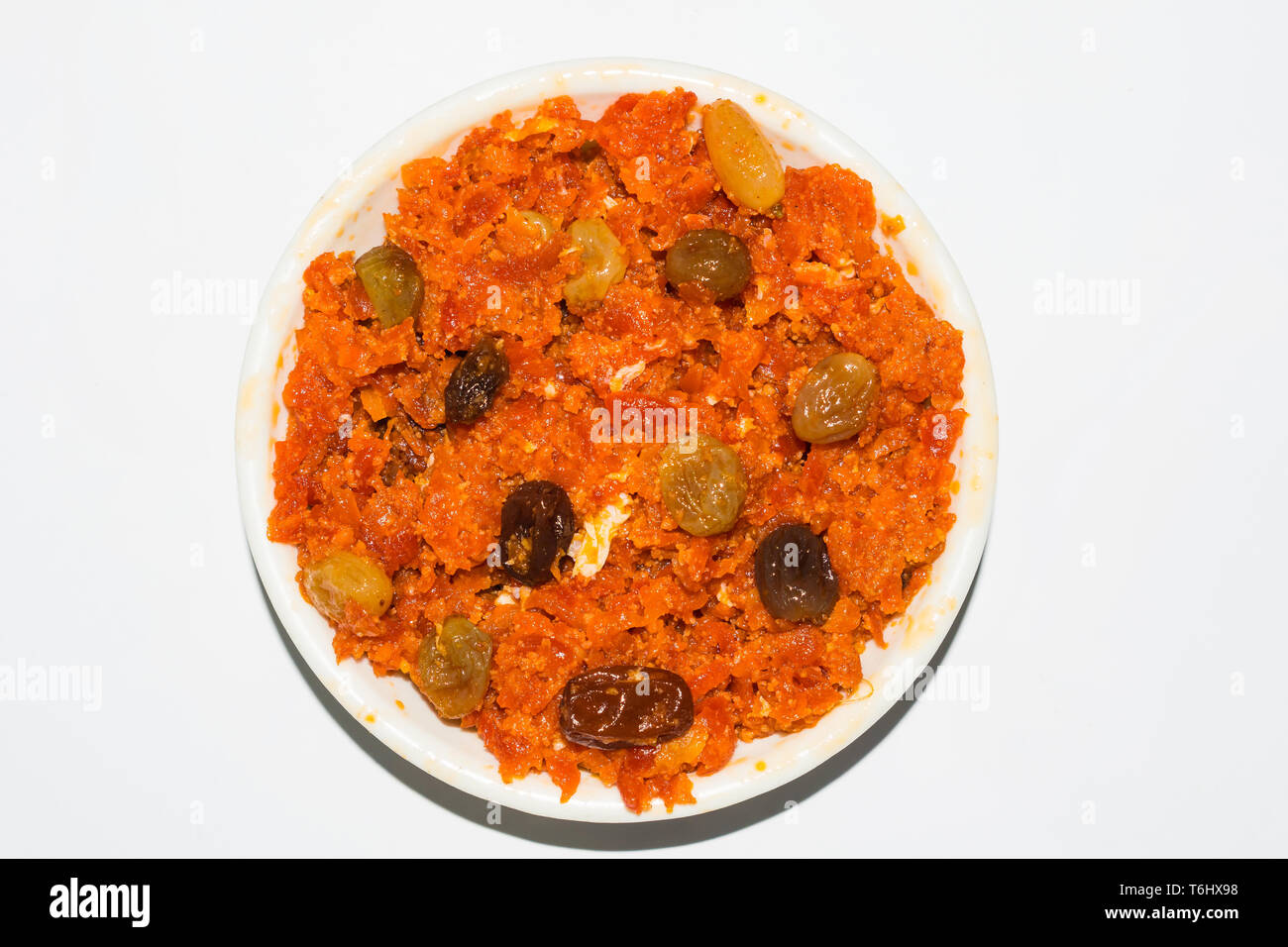 gajar halwa is carrot based pudding made with khya,milk,almond,pistachio. - Stock Image