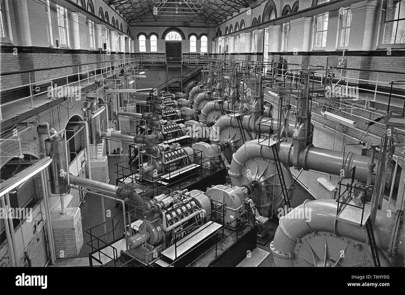 7/24  Tower Hamlets Abbey Mills Pumping Station 1979.nef - Stock Image