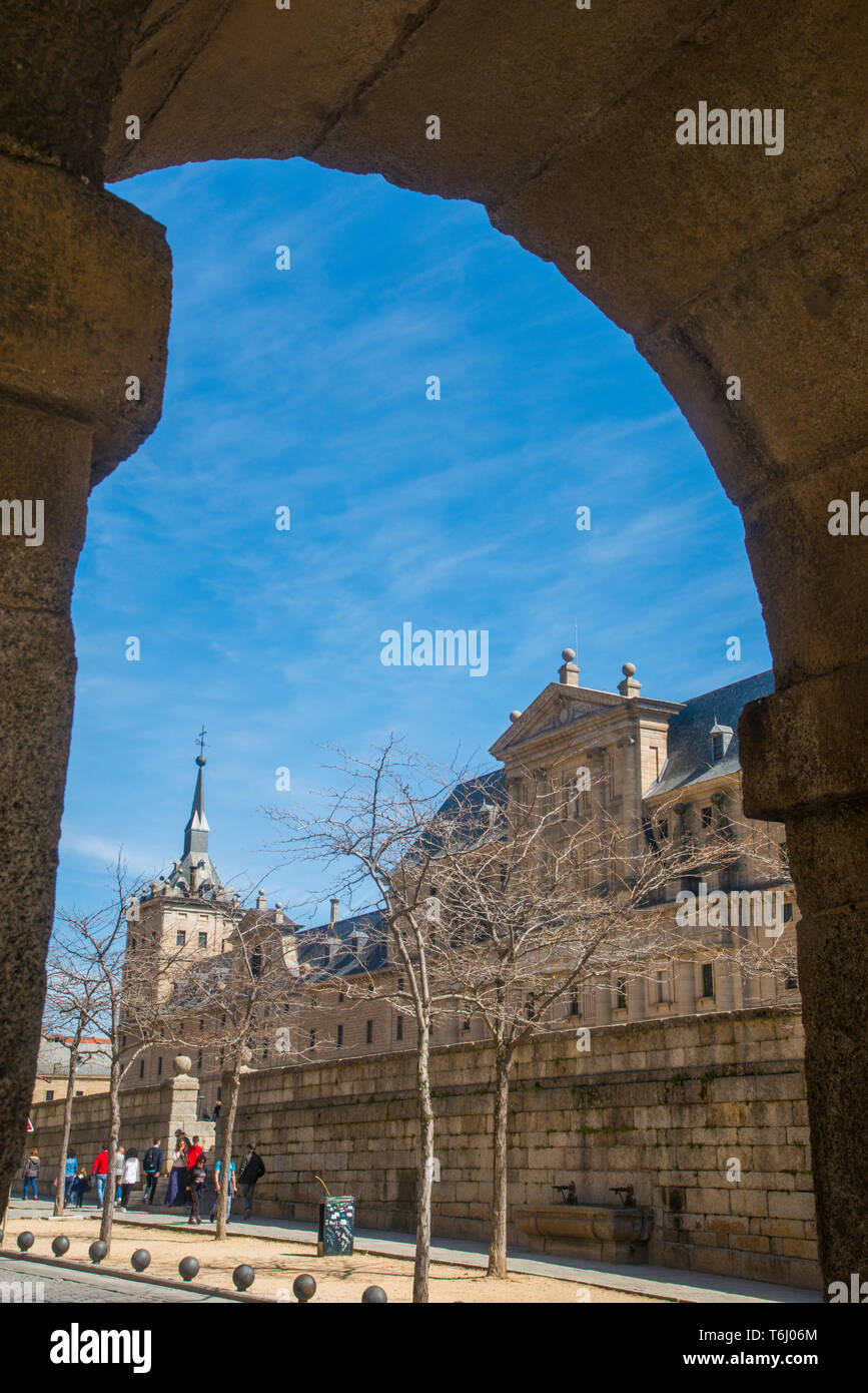 La Lonja. Royal Monastery, San Lorenzo del Escorial, Madrid province, Spain. - Stock Image