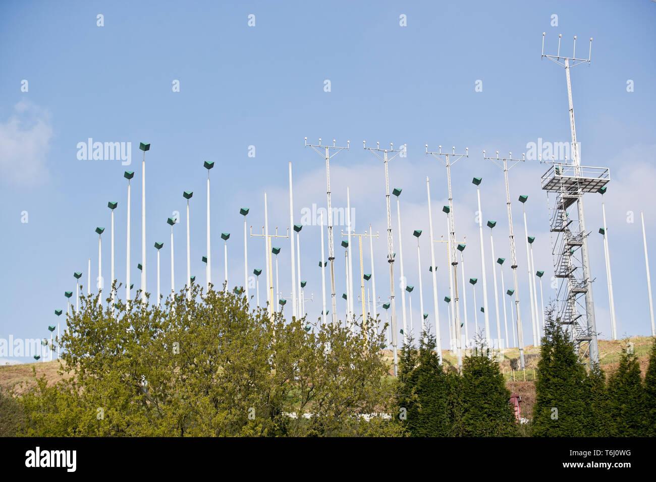 Asturias Airport. Anti-fog system, ILS, Santiago del Monte. - Stock Image