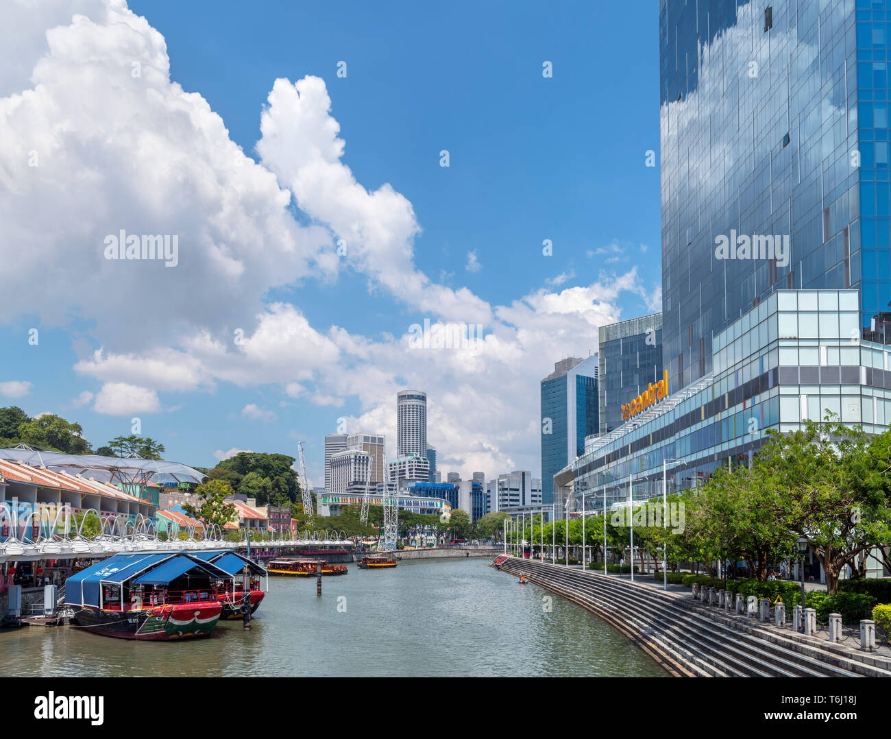 Clarke Quay and the Singapore River from Read Bridge, Singapore City, Singapore - Stock Image