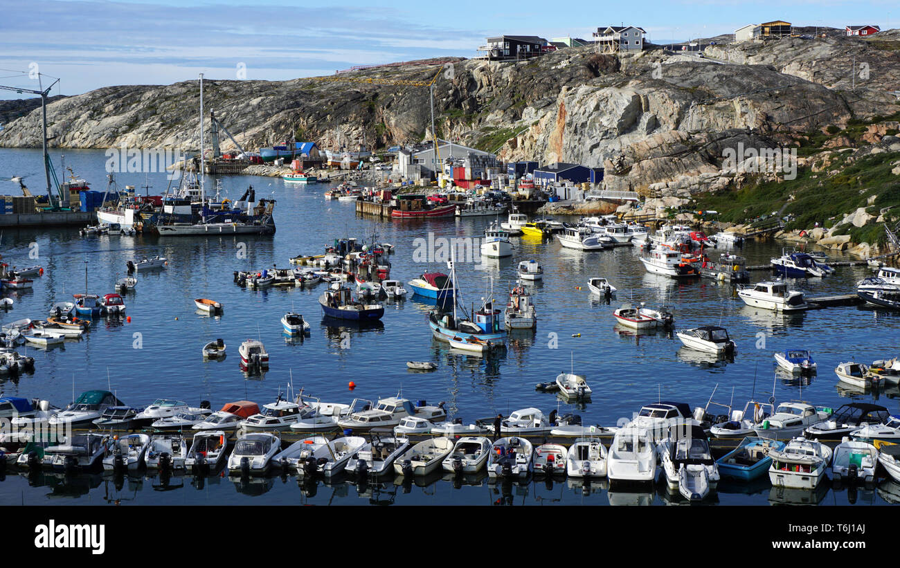 Hafen von Ilulissat auf Grönland - Stock Image