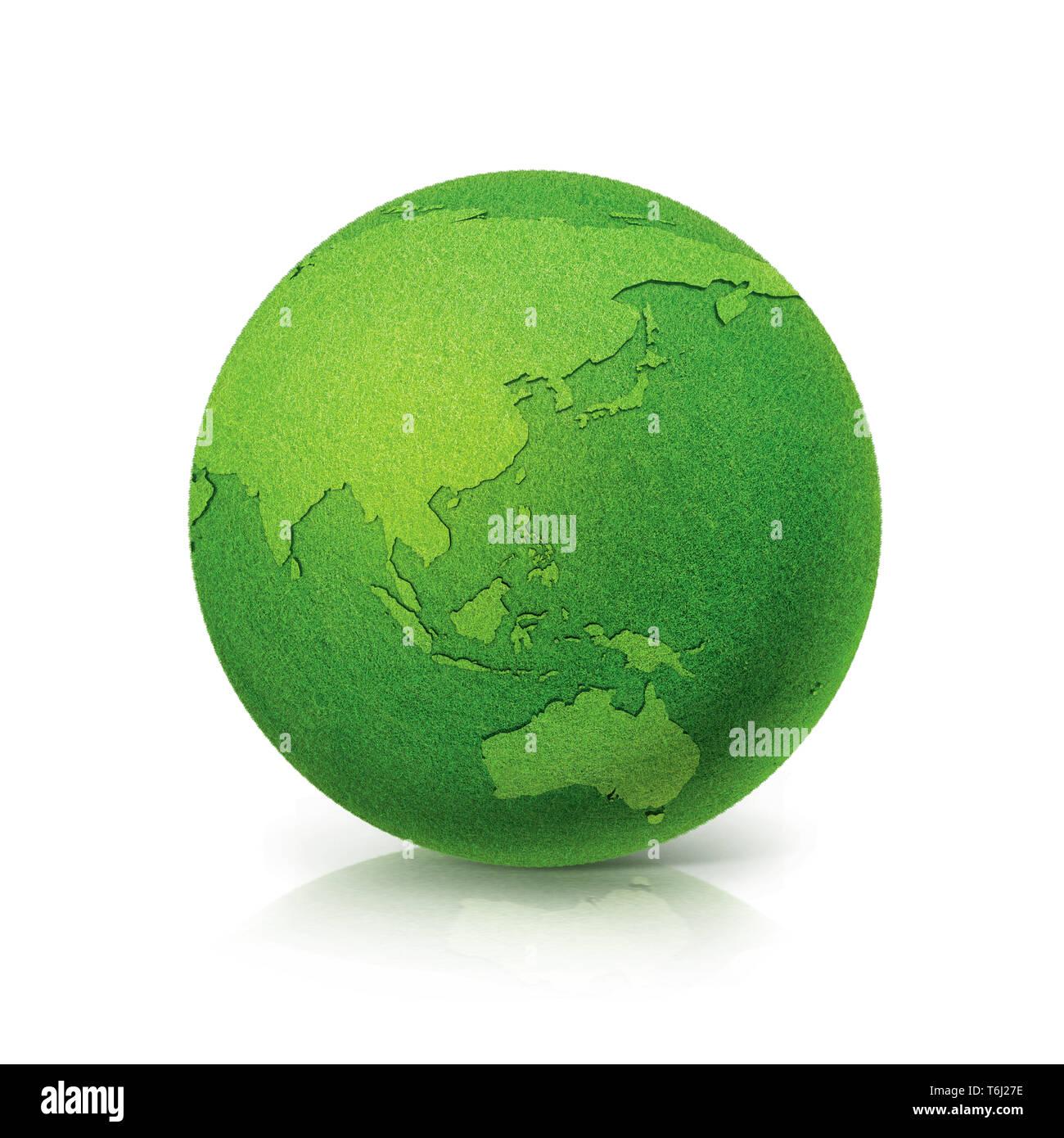 ECO Green globe Asia & Australia map on white background - Stock Image