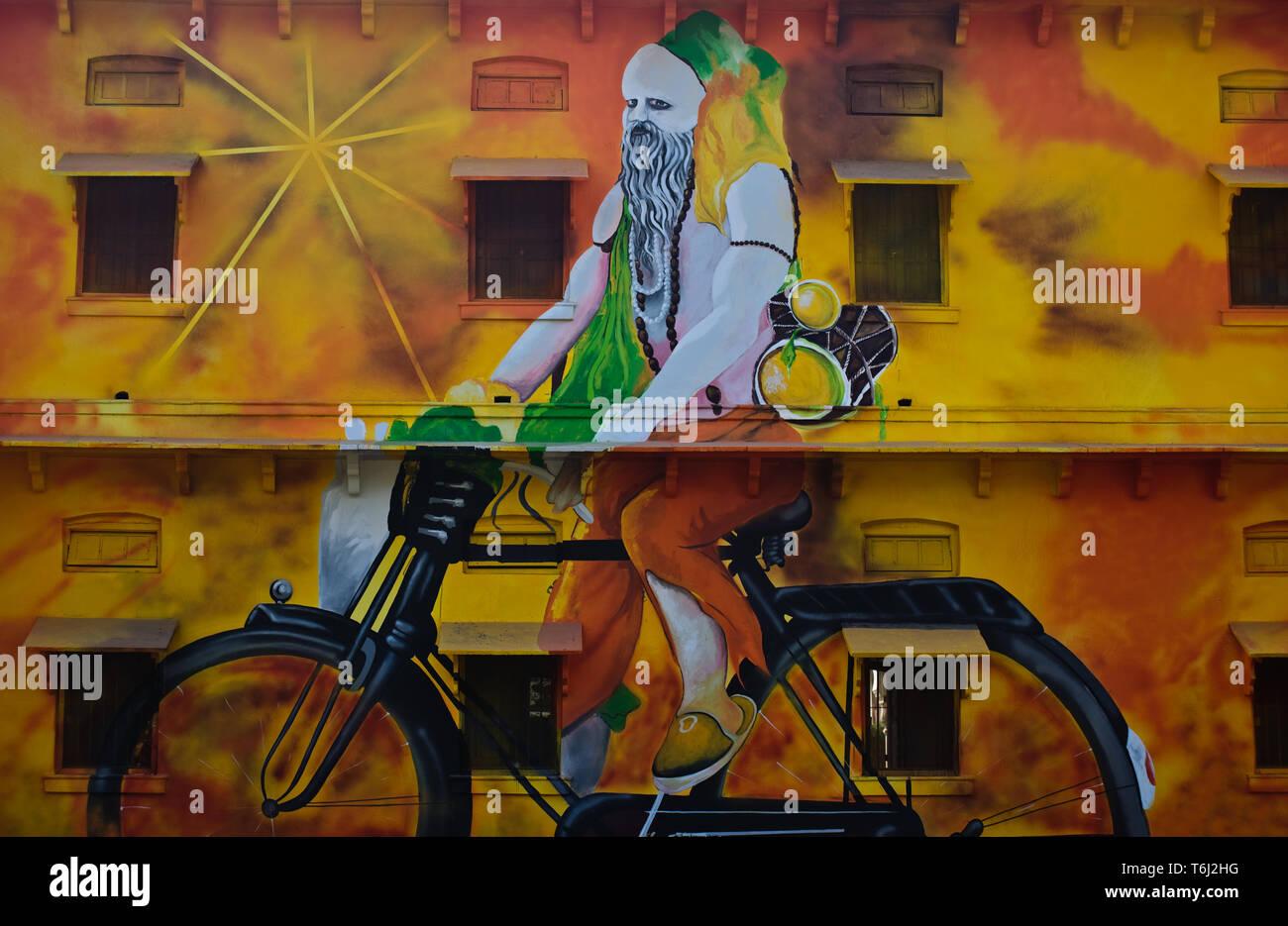 Mural painting representing a 'sadhu' ( India) - Stock Image