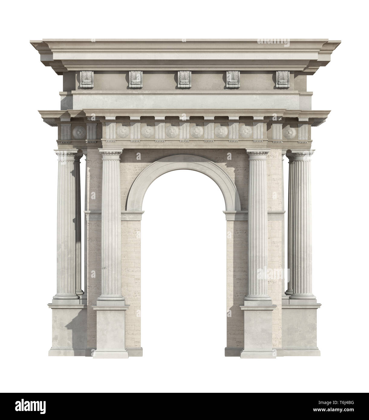 Portal in neoclassical style isolated on white with arch and doric column - 3d rendering - Stock Image