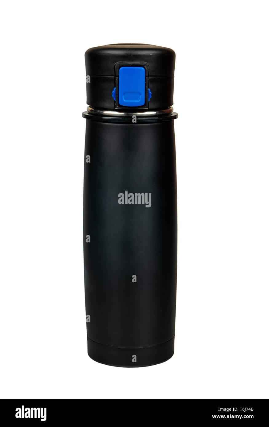 Black sports water bottle isolated on white background - Stock Image