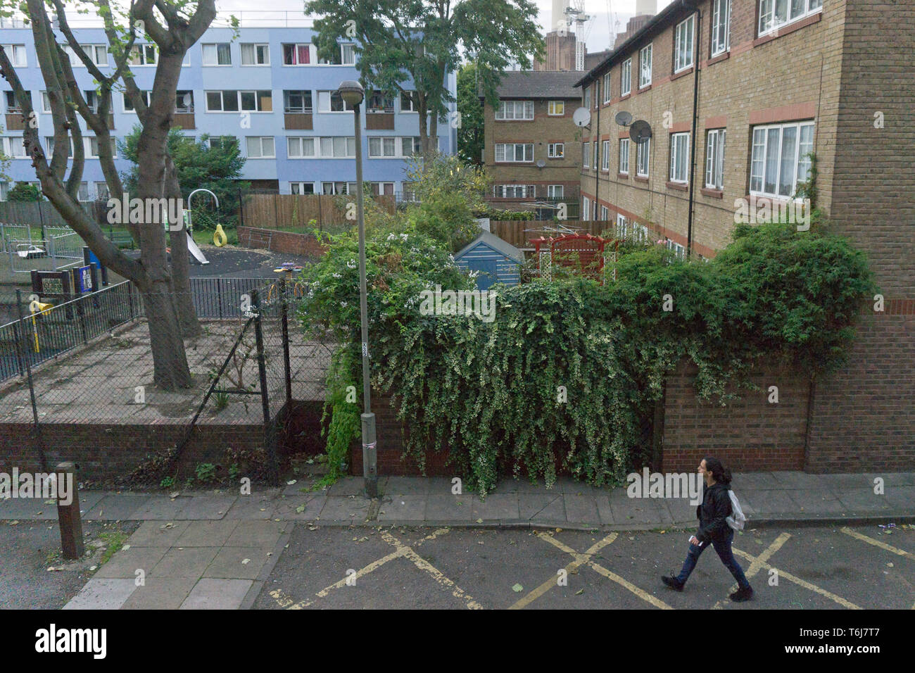 A children's playground is pictured in Seldon House estate near Battersea Power Station on September 20, 2017. Stock Photo