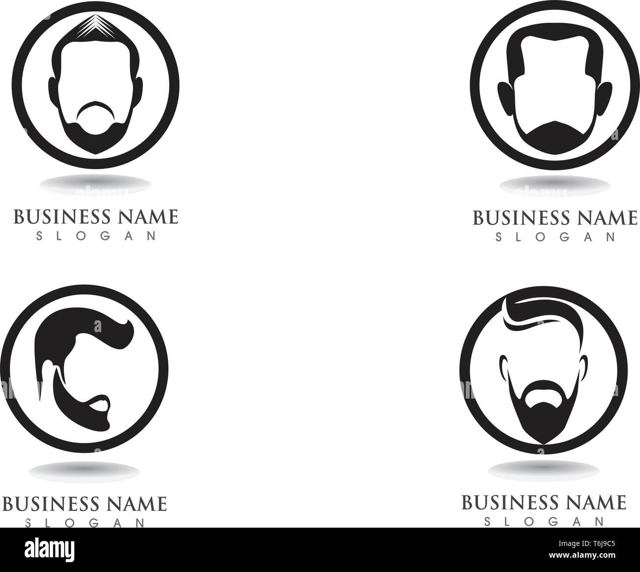 masculine beard black hair geek logo and symbols - Stock Image