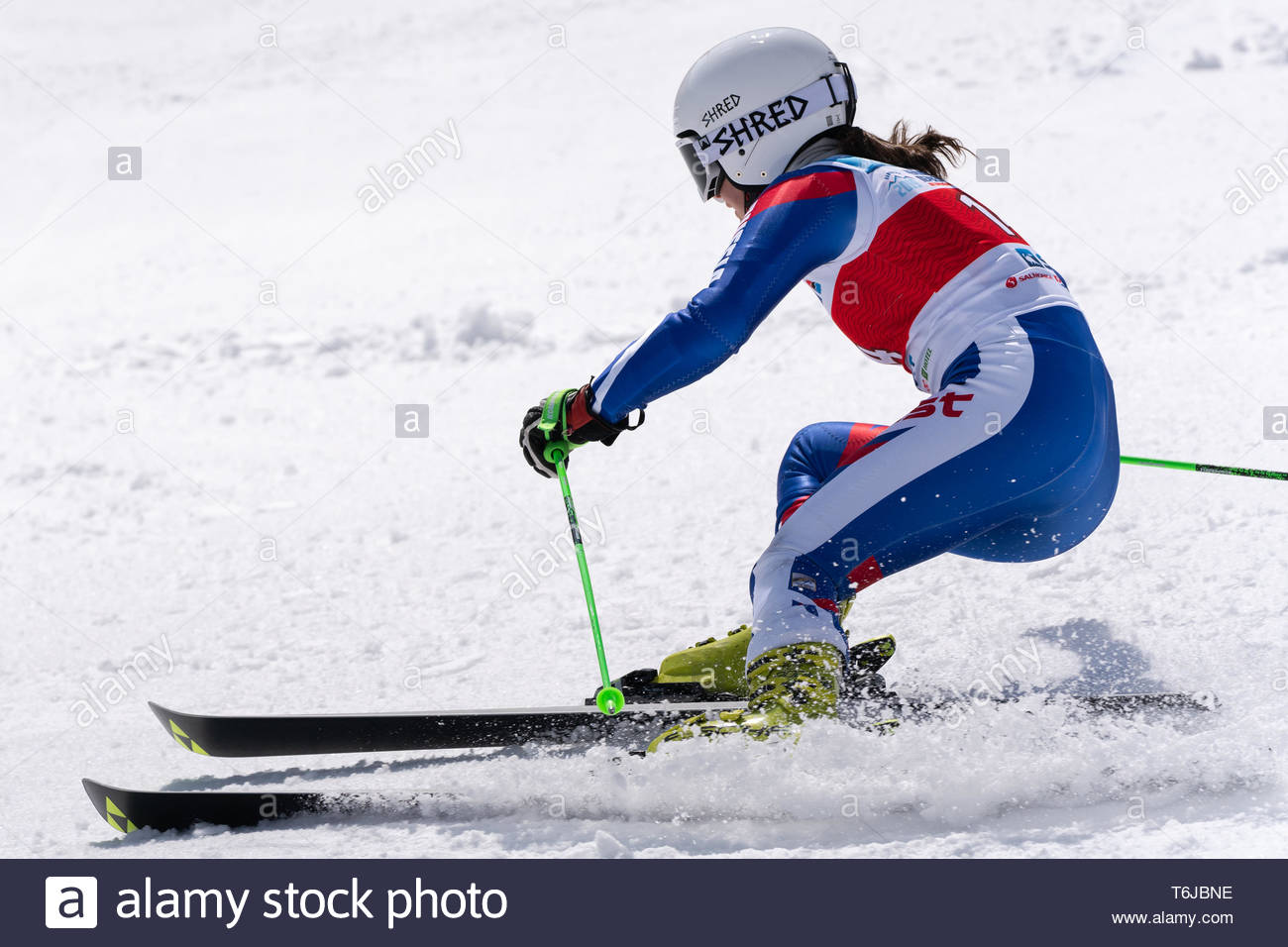 KAMCHATKA PENINSULA, RUSSIAN FEDERATION - APRIL 1, 2019: Russian Women's Alpine Skiing Championship, giant slalom. Mountain skier Darya Shustrova (St. - Stock Image