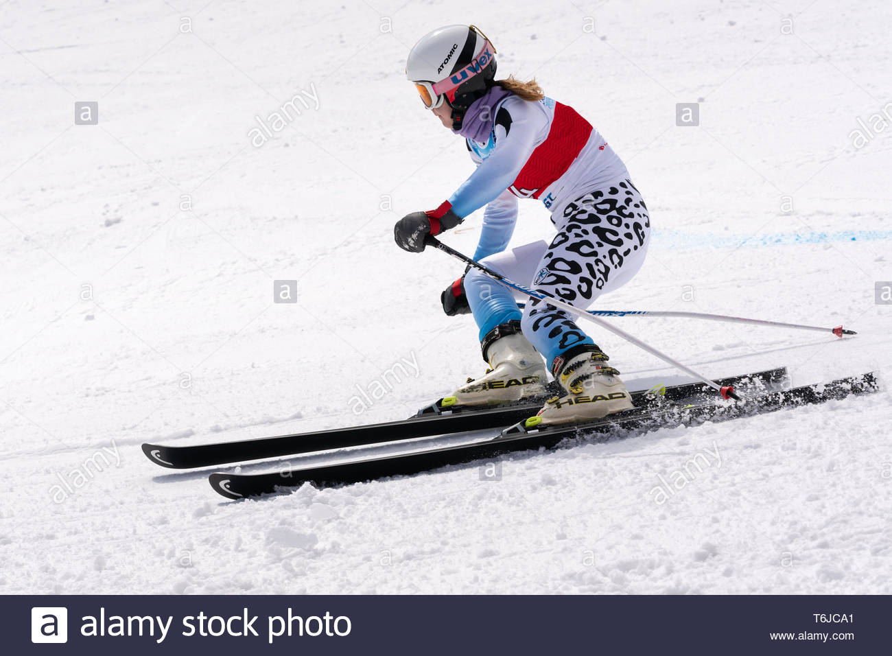 KAMCHATKA PENINSULA, RUSSIAN FEDERATION - APRIL 1, 2019: Russian Women's Alpine Skiing Championship, giant slalom. Mountain skier Vitaliya Kazakova (M - Stock Image